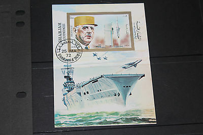 Sharjah 1972 Aircraft Carrier,planes,de Gaul  Imperf Minature Sheet Fine M/n/h