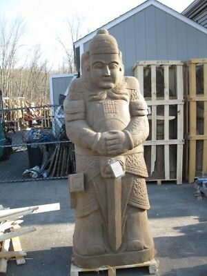 Great Large Hand Indoor - Outdoor Carved Stone Asian  Warrior Standing Statue