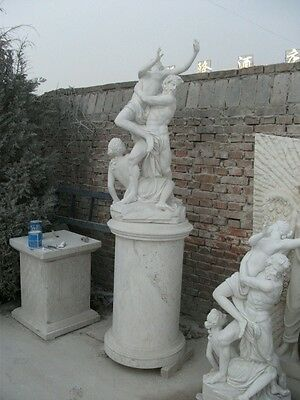 Great Hand Carved  Rape Of Persephione Marble Statue And Base - Rop1