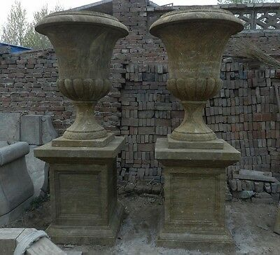 Great Pair Of Antique Stone European Style Urns With Bases - Asu1
