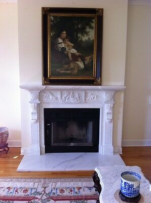 Nice Hand Carved Solid Marble Fireplace Mantel Fpm184