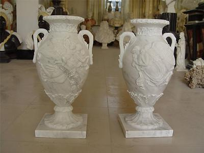 Beautiful Hand Carved Carrara Marble Estate Figural Urns - Md3