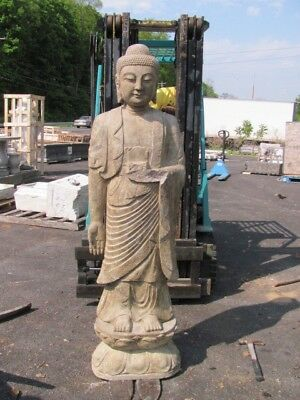 Large Hand Carved Stone Asian Inddor Or Outdoor Standing Warrior Statue - As060