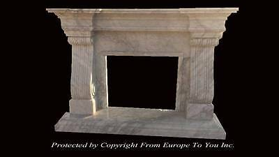Beautiful Solid Hand Carved Carrara Marble French Style Fireplace Mantel - Fg2