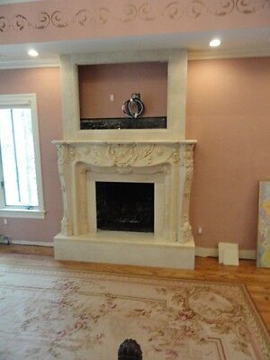 Hand Carved Marble Egypt Cream Fireplace Mantel Fpl71
