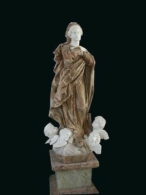 Beautiful Hand Carved Marble Mother Mary With Cherubs