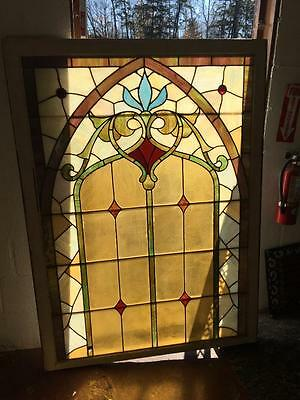 Nice Antique Victorian Original Stained Glass Window