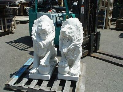 Pair Of Carved Marble Sitting Roaring Lions