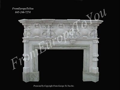 Beautiful Hand Carved Marble Dining Room Fireplace Mantel Mntl202