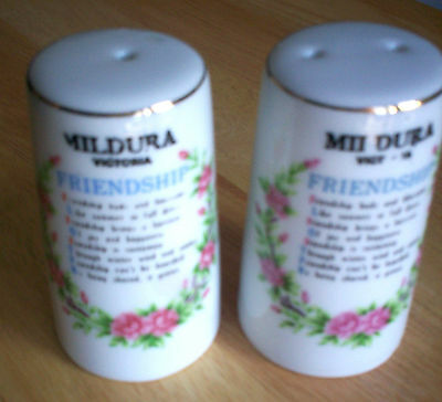 Salt & Pepper Ceramic Shakers Mildura Souveneir