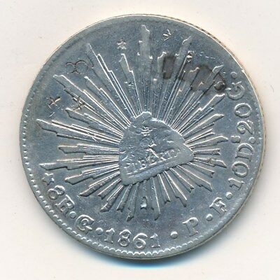 1861 Go P.F. MEXICO SILVER 8 REALES-BEAUTIFUL COIN! SHIPS FREE!