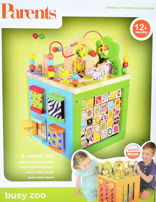 Gift Educational Toy 12m+ Baby 5in1 Wooden Bead Maze Activity Cube #99197