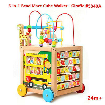 Educational Toy 6in1 Bead Maze Activity Cube Baby Toddler Walker Giraffe #5840A