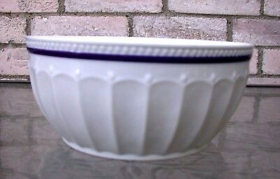 Everyday White by Fitz and Floyd Blue Rim Fluted Serving Bowl-New