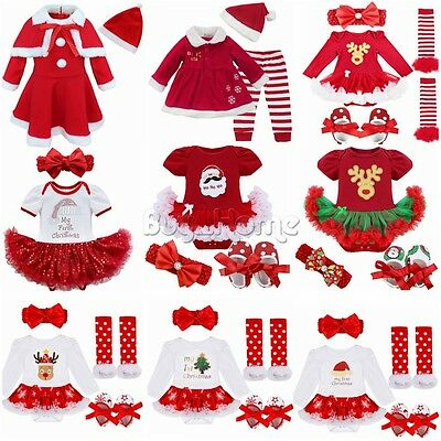 Newborn Baby Girl 1st Christmas Santa Romper Outfits Costume Dress Xmas Clothing