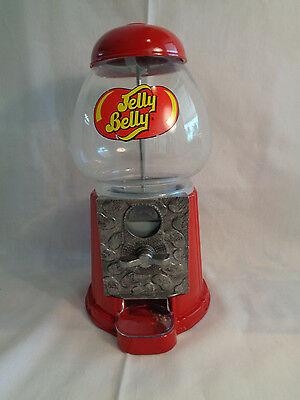 Jelly Belly Candy Dispenser Red Metal / Glass Coin Operated Gum-Ball Machine