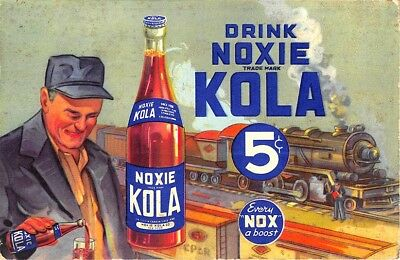 New York NY Noxie Kola Co. Moxie Knock Off Railroad Train Advertising Postcard