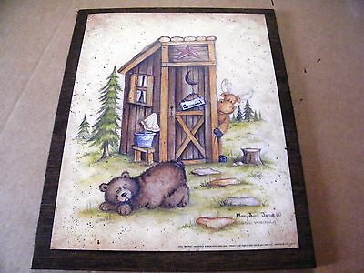 9x11 Primitive COUNTRY Rustic Bathroom OUTHOUSE BEAR MOOSE art lodge decor sign