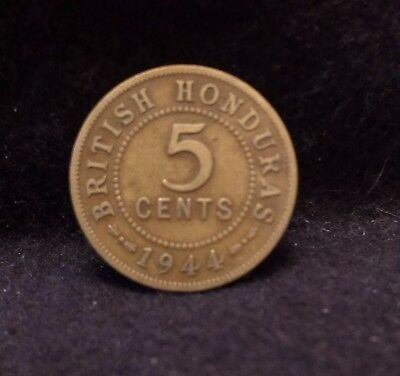 1944 British Honduras 5 cents, George VI, WWII, scarce, 50,000 minted, KM-22a