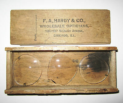 Early Vintage F.A. Hardy & Co Wholesale Opticians Chicago Illinois Wood Case Box