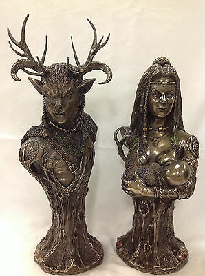 Celtic God - Cernunnos & Mother Earth Danu figurine Statue Sculpture (SET)