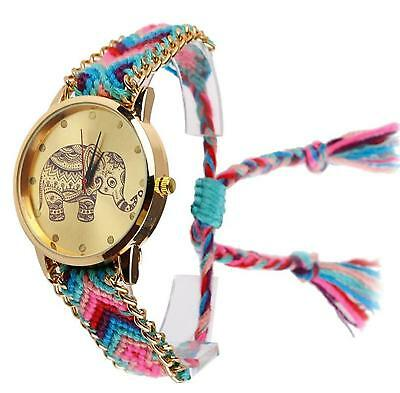 New Brand Handmade Braided Elephant Friendship Bracelet Watch Geneva Ladies...