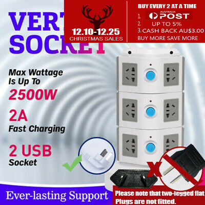 11 Ways Surge Protector Power Board  Outlets Socket 3Level vertical socket  2Usb