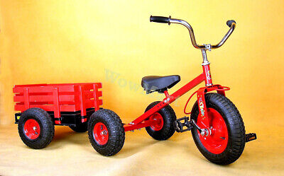 Kid Ride on Toy All Terrain Tow 'n' Go Pedal Tricycle Trike & Trailer Set F80AB