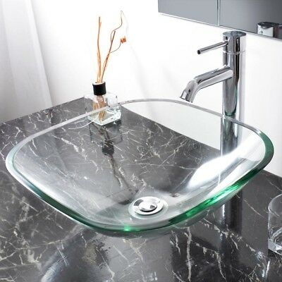 Bathroom Tempered Glass Above Counter Top Vanity Basin Wash Sink Transparent