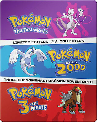Pokemon: The Limited Edition Movies 1-3 Collection SteelBook [Blu-ray Set] NEW