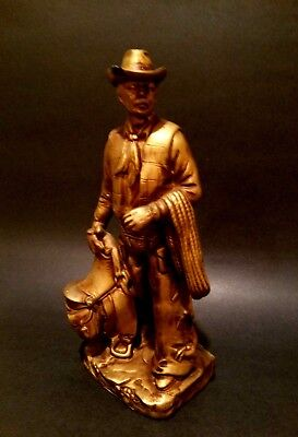 Collectible John Wayne Bronze Look Figurine Cowboy Western Outfit and Saddle