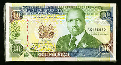 """UNC"" 100 Consecutive 1990 Central Bank of Kenya 10 Shillings P-24b, Scan-036"
