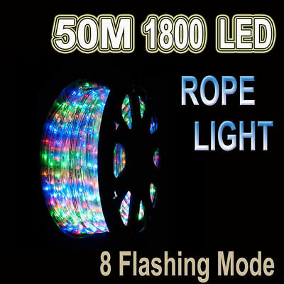 Led 50M Party Christmas Wedding Rope Light With 8 Function Multicolored