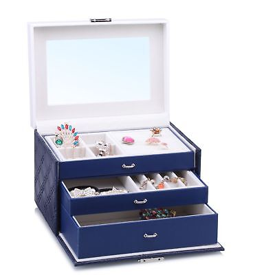 Large Mirror Jewellery Box Travel Gift Earings Display Necklaces Velvet Storage