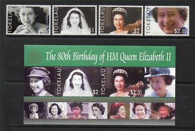 Tokelau Mnh 2006 Sg374-377 & Ms378 Qeii 80Th Birthday