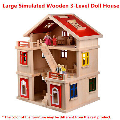 New Kid Gift Wooden Pretend Toy 2-Side Doll House Fire Station 63**30*60cm
