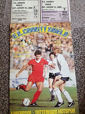 Liverpool v tottenham charity shield 1982 final programme ticket x2