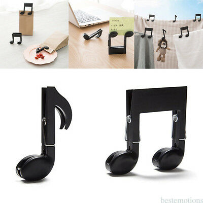 2 Pcs Music Note Page Book Clip Musical Food Bag Bookmarks Storage Accessory KQ2