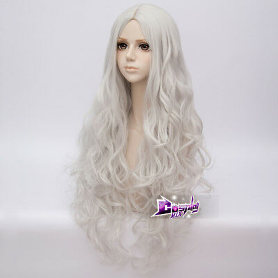 80CM Long Sliver White Curly Fashion Party Women Cosplay Wig + Wig Cap Halloween