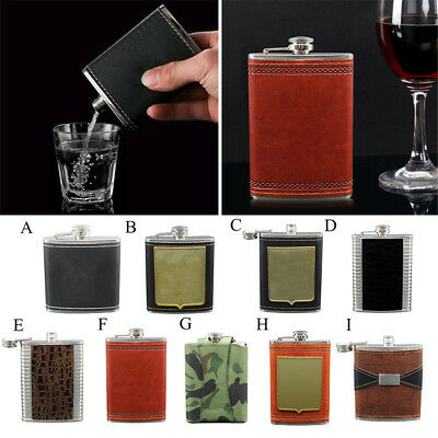 Portable Engraved Leather Wrapped Stainless Steel Hip Flask Whiskey Flagon 6-9oz