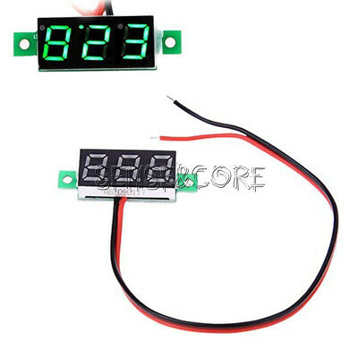 "0.28"" 2 Wire Mini DC Digital Panel Voltmeter Panel Mount LED Voltage Green"