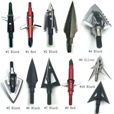3/6/12x Stainless Steel Archery Broadheads Arrow Heads Target Points For Hunting