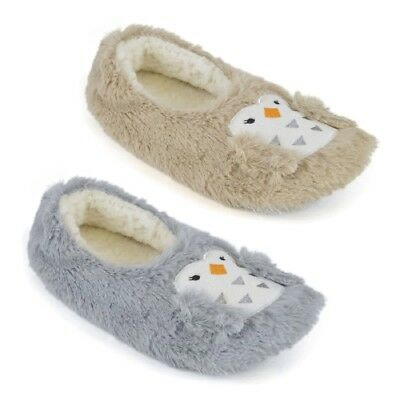 Ladies Owl Design Ballet Slippers with Soft Fleece Lining