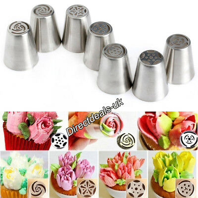 7Pcs Easy Flower Piping Cupcake Icing Nozzles Tips Rose Tulip Blossom +Convertor