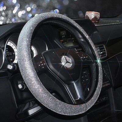 Rhinestone Leather Car Steering Wheel Cover Bling Handcraft Lady Decoration
