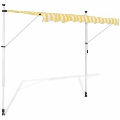 vidaXL Toldo Retráctil Manual Amarillo y Blanco Dimensiones: 4 x 1,2 x (2-3) m