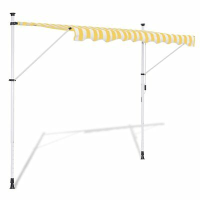 vidaXL Toldo Retráctil Manual Amarillo y Blanco Dimensiones: 3,5 x 1,2 x (2-3)m