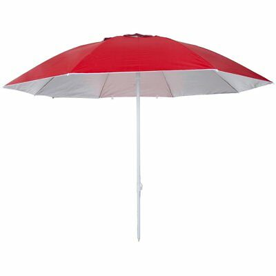Pure2Improve Sombrilla UV 240 cm Rojo Tejido Oxford Interior Plata Reflectante