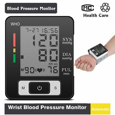 Digital LCD Wrist Blood Pressure Monitor Heart Beat Rate Pulse Meter Measure LE