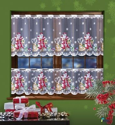 Cafe Net Curtain Christmas Santa Pattern Sold By the Metre 2 Drops 50cm & 70cm